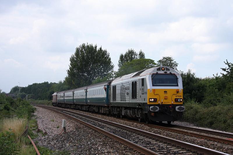 67029/67017, 12.47 Paignton-Cardiff Central, Bathpool, Taunton, 23-7-10.