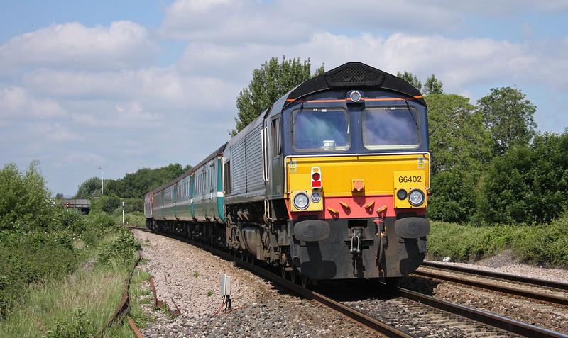 57309/66402, 10.10 Weston-super-Mare-Taunton ecs, Bathpool, Taunton, 25-6-10.