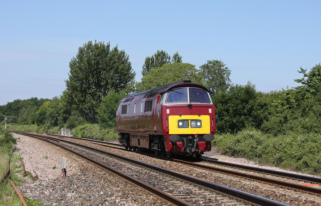 D1015, 07.05 Penzance-Eastleigh light engine move, Bathpool, Taunton, 28-6-10.