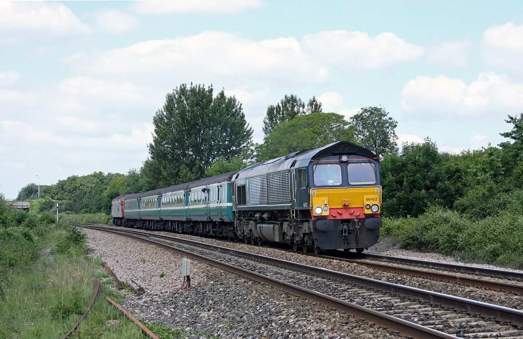 66402/57309, 11.02 Taunton-Cardiff Central, Bathpool, Taunton, 25-6-10.