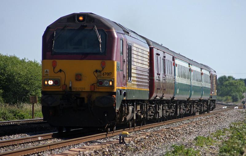 67017/67016, 08.00 Cardiff Central-Paignton, Cogload, 25-6-10.