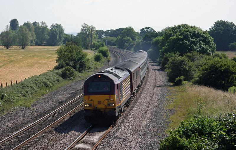 67017/67016, 08.00 Cardiff Central-Paignton, Creech St Michael, near Taunton, 28-6-10.