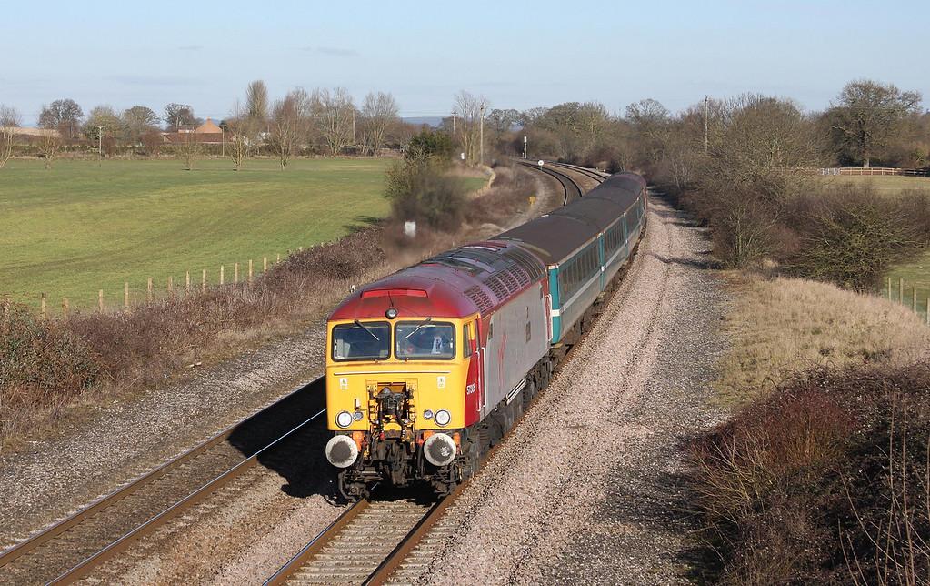 57305/57309, 14.00 Cardiff Central-Taunton, Creech St Michael, near Taunton, 4-3-10.
