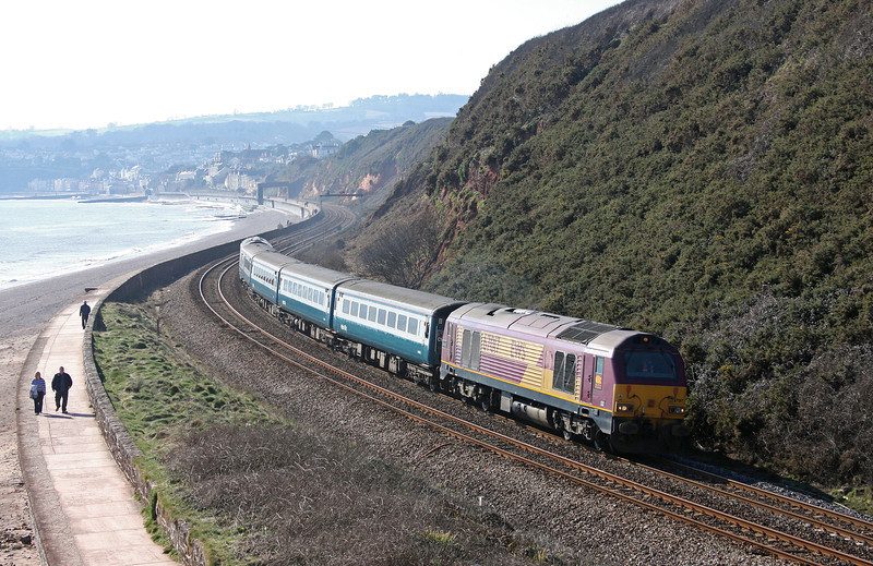 67022/67017, 12.50 Paignton-Cardiff Central, Dawlish Warren, 5-3-10.