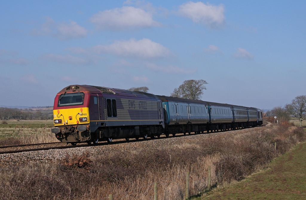 67022/67017, 08.00 Cardiff Central-Paignton, Powderham, near Starcross, 9-3-10.