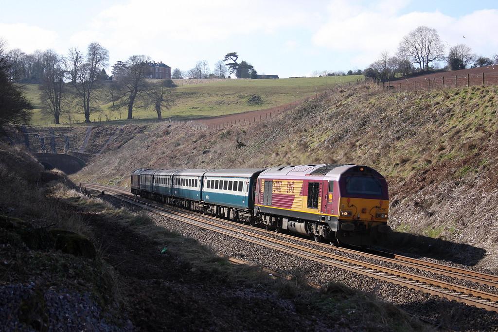 67017/67022, 12.47 Paignton-Cardiff Central, Marlands, near Wellington, 10-3-10.