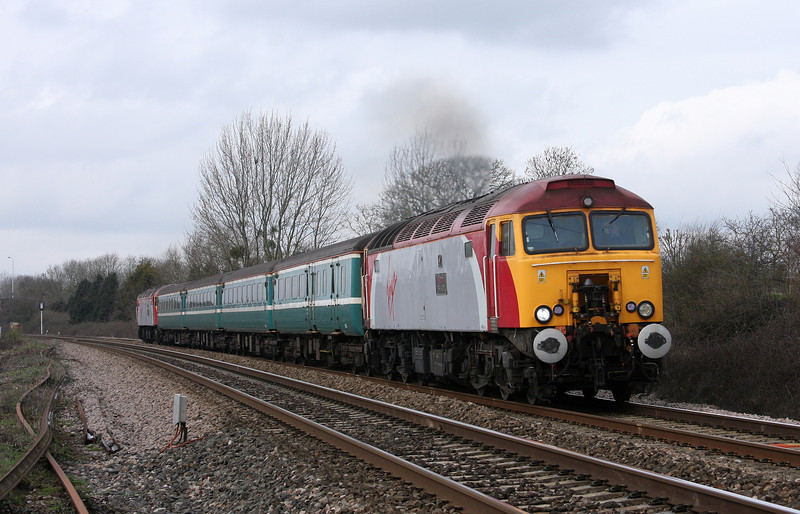 57312/57306, 11.02 Taunton-Cardiff Central, Bathpool, Taunton, 24-3-10.