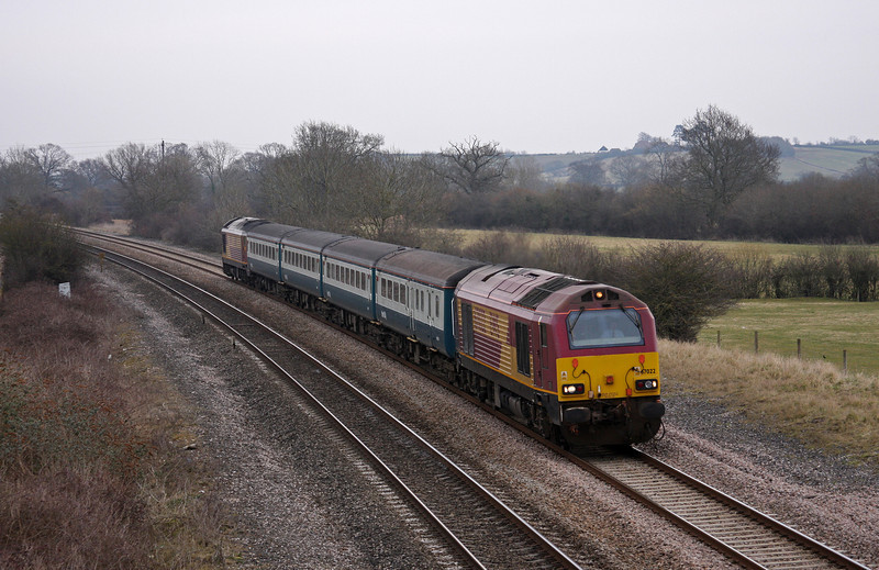 67022/67017, 08.00 Cardiff Central-Paignton, Creech St Michal, near Taunton, 18-3-10.
