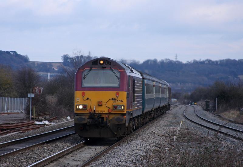 67017/67022, 12.47 Paignton-Cardiff Central, Pilning, 12-3-10.