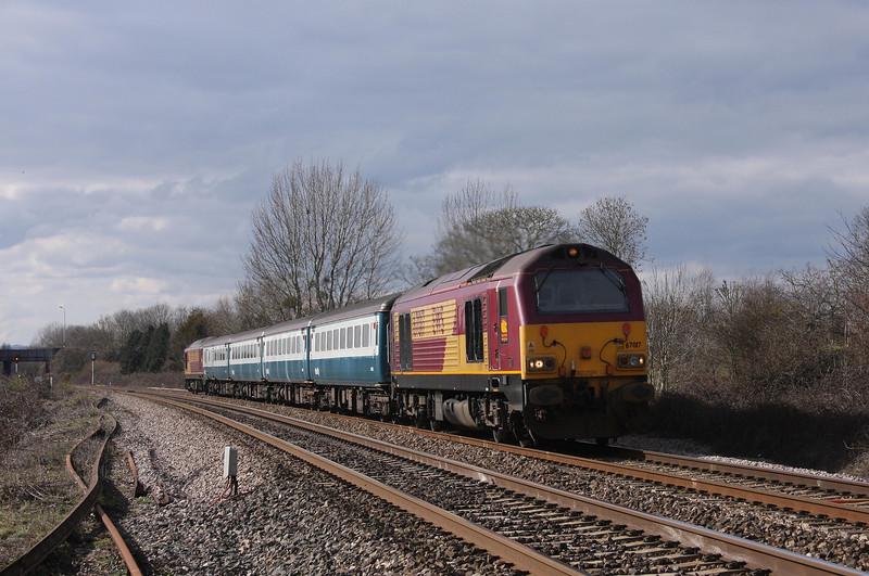 67017/67022, 12.47 Paignton-Cardiff Central. Bathpool, Taunton, 15-3-10.