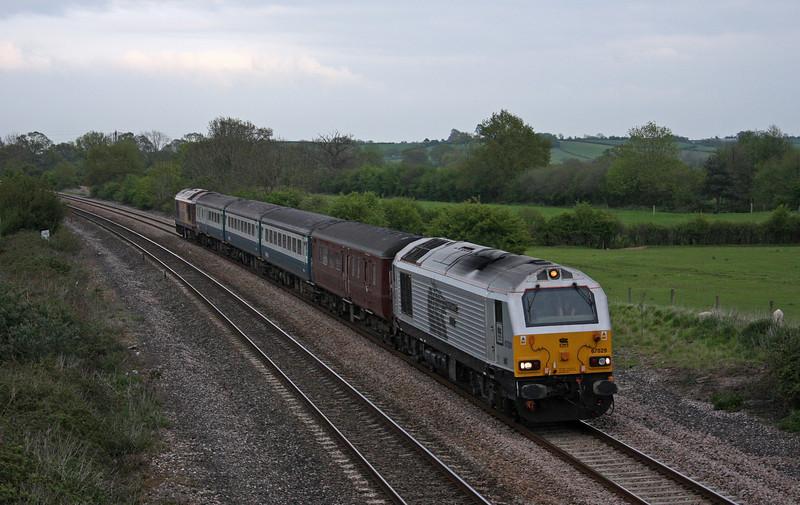 67029/67022, 17.00 Cardiff Central-Paignton, Creech St Michael, near Taunton, 5-5-10.