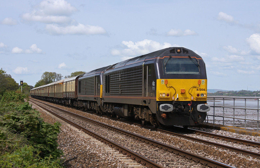 67006/67005, 13.50 Taunton-Plymouth, VSOE stock, Powderham, near Exeter, 15-5-10.