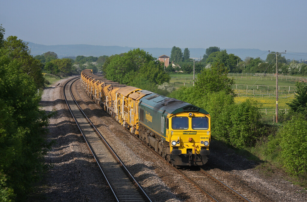 66616, 08.20 Taunton Fairwater Yard-Westbury Virtual Quarry, Cogload Junction, 21-5-10.
