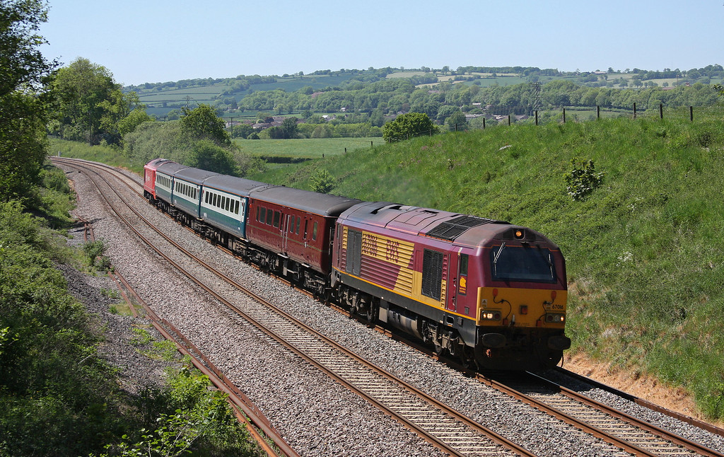67016/67018, 12.47 Paignton-Cardiff Central, Whiteball, 24-5-10.