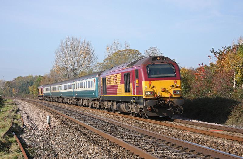 67017/67016, 11.02 Taunton-Cardiff Central, Bathpool, Taunton, 1-11-10.