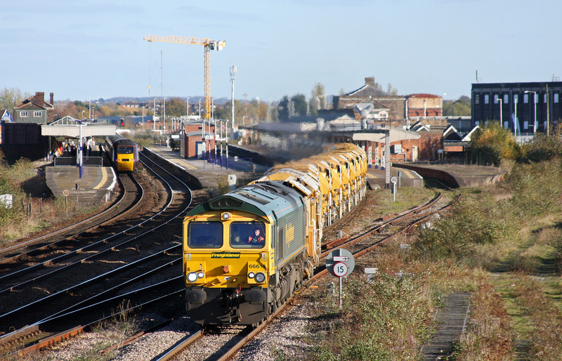 66614, 12.42 Westbury Virtual Quarry-Taunton Fairwater Yard, Taunton 40 Steps Bridge, 10-11-10.