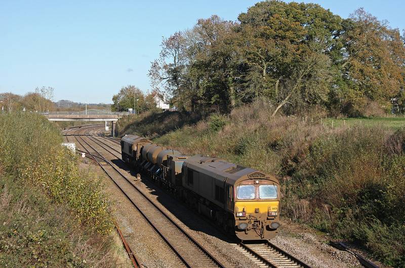 66130/66167, 08.45 Westbury-St Blazey, Willand, near Tiverton, 15-11-10.