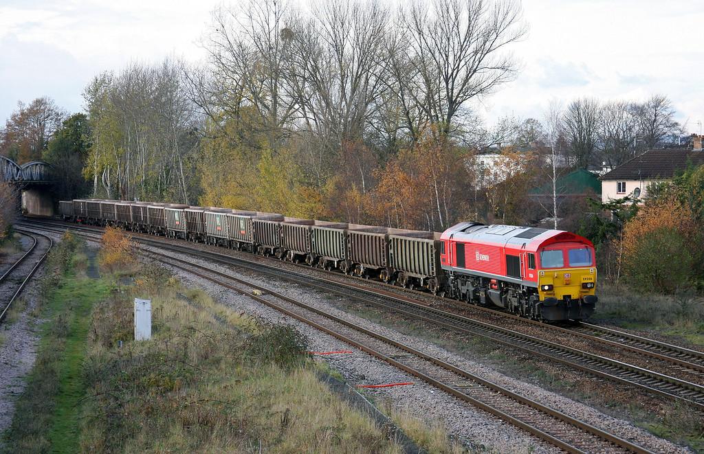 59206, 11.58 Exeter Riverside Yard-Westbury Yard, Taunton 40 Steps Bridge, 24-11-10.
