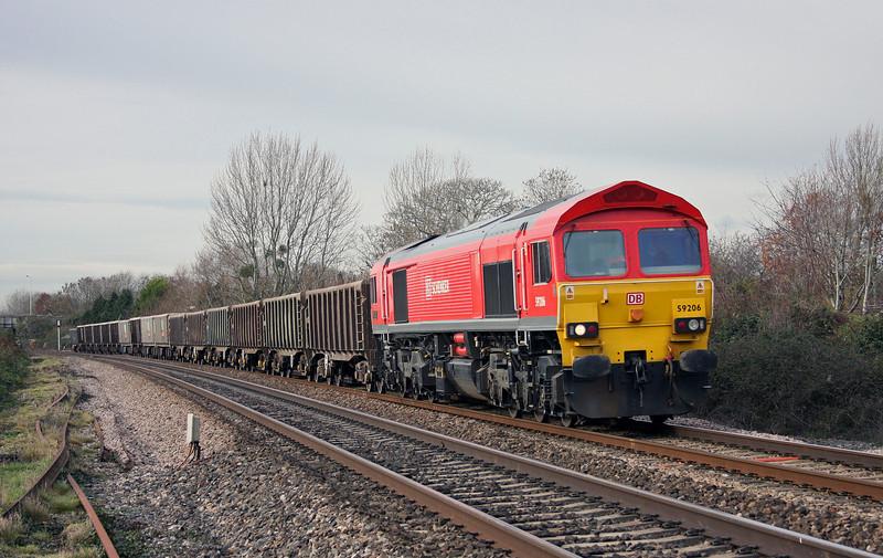 59206, 12.09 Exeter Riverside Yard-Westbury Yard, Bathpool, Taunton, 26-11-10.