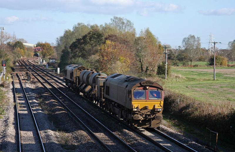 66130/66167, 08.45 Westbury-St Blazey, Norton Fitzwarren, Taunton, 10-11-10.