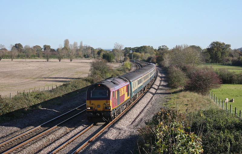 67016/67017, 10.10 Weston-super-Mare-Taunton ecs, Creech St Michael, near Taunton, 10-11-10.