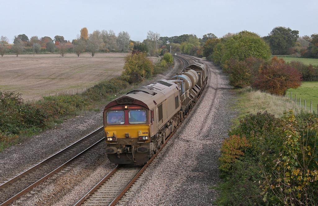 66130/66167, 08.40 Westbury-St Blazey, Creech St Michael, near Taunton, 2-11-10.