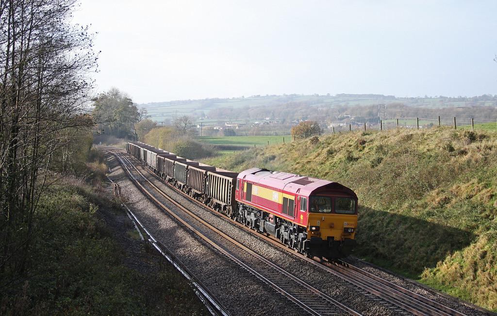 59205, 11.58 Exeter Riverside Yard-Whatley Quarry, Whiteball, 19-11-10.