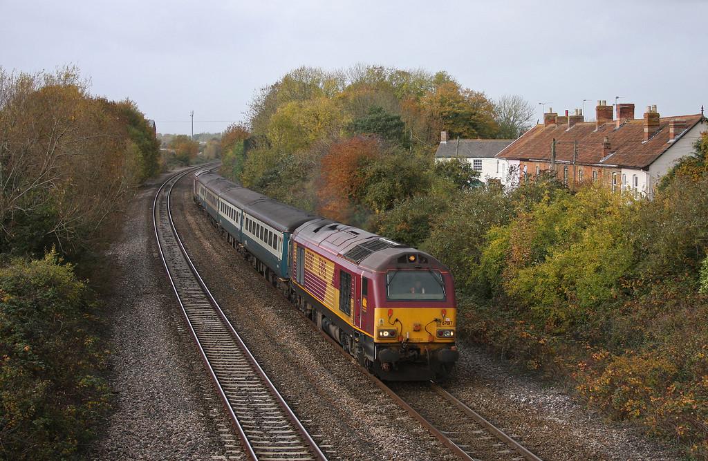 67017/67016, 11.02 Taunton-Cardiff Central, Creech St Michael, near Taunton, 2-11-10.