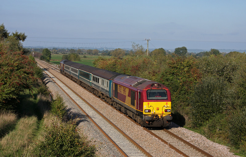 67022/67020, 14.00 Cardiff Central-Taunton, Banklands, near Durston, 12-10-10.