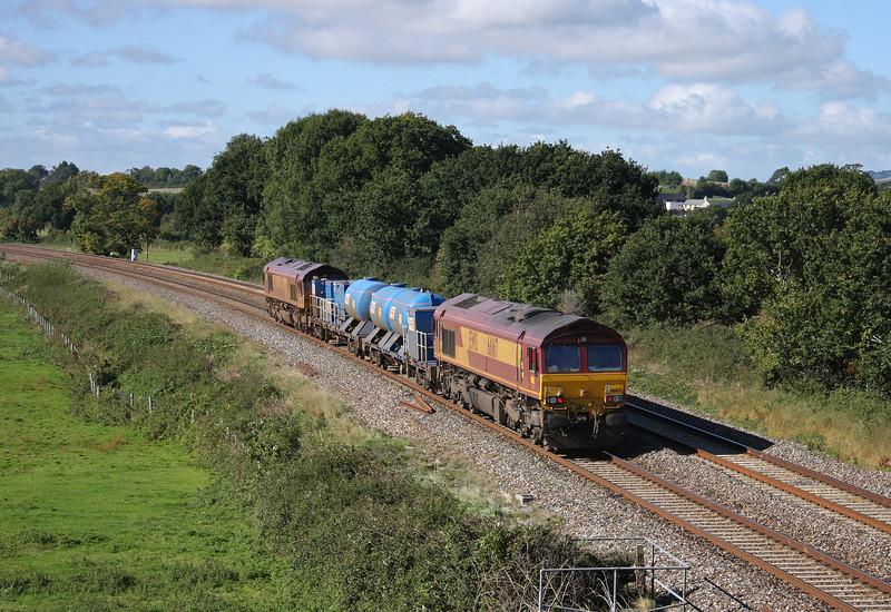 66130/66167, 08.45 Westbury-St Blazey, Ellerhayes, Silverton, near Exeter, 4-10-10.