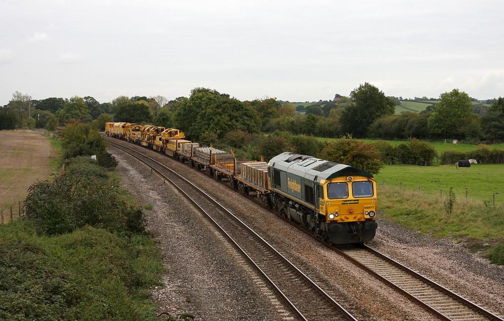 66617, 09.50 Taunton Fairwater Yard-Bristol-Westbury-Taunton Fairwater Yard, Creech St Michael, near Taunton, 15-10-10.