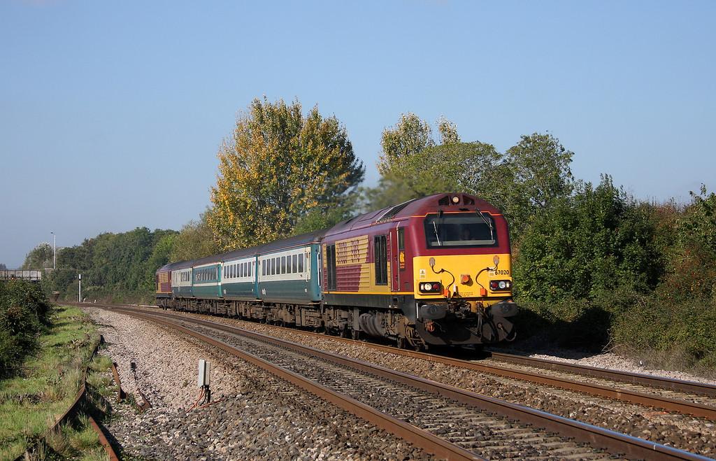 67020/67022, 11.02 Taunton-Cardiff Central, Bathpool, Taunton, 11-10-10.