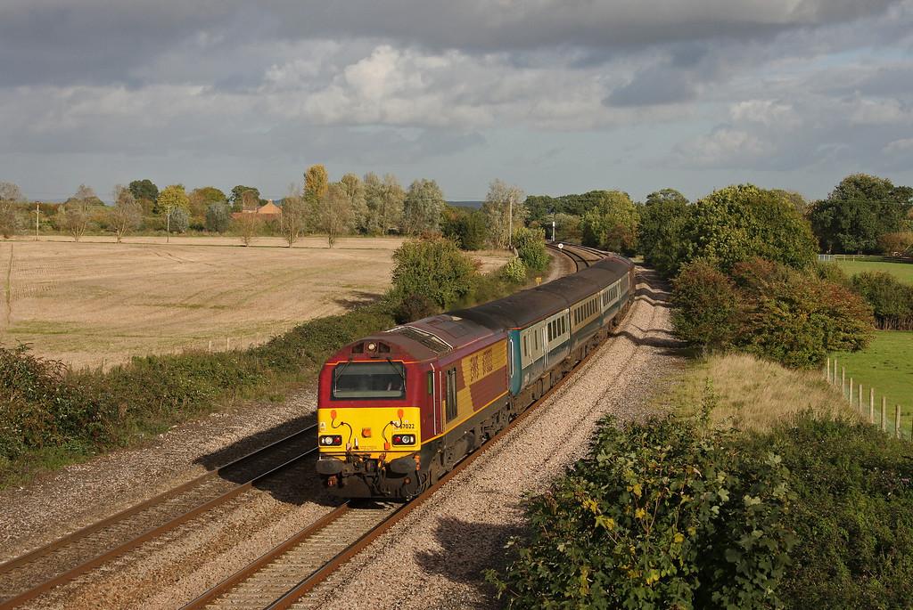 67022/67024, 14.00 Cardiff Central-Taunton, Creech St Michael, near Taunton, 19-10-10.