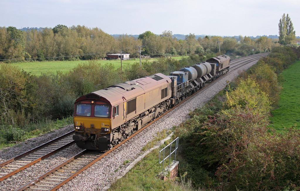 66130/66167, 08.45 Westbury-St Blazey, Oath, near Langport, 12-10-10.