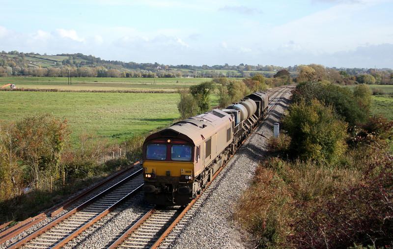 66130/66167, 08.45 Westbury-St Blazey, Wick, near Langport, 27-10-10.
