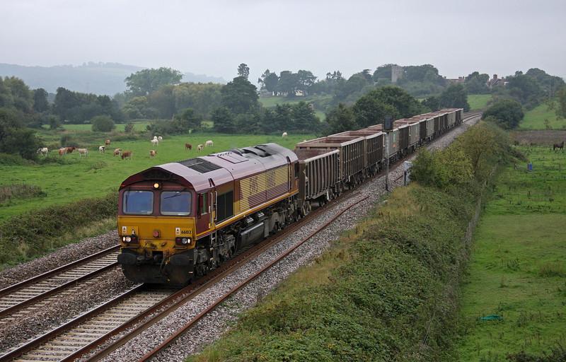 66102, 11.58 Exeter Riverside Yard-Westbury Yard, Rewe, near Exeter, 21-9-10.