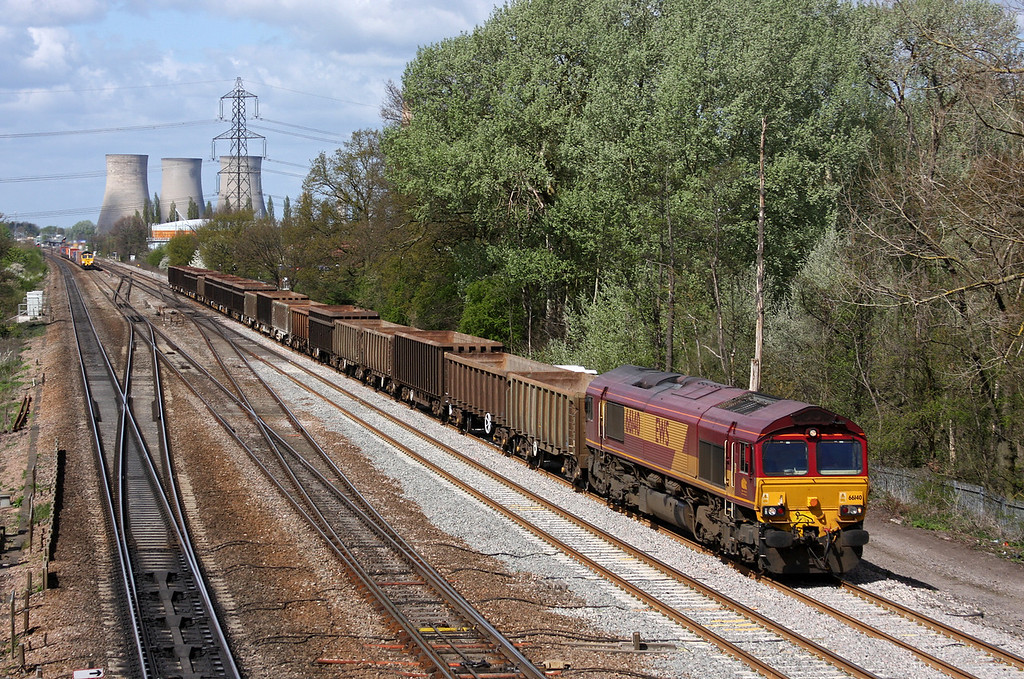 66140, 11.09 Appleford Tip-Bow Olympic, and 66541, 09.58 Cardiff Wentloog-Southampton Millbrook, Didcot, 12-4-11.