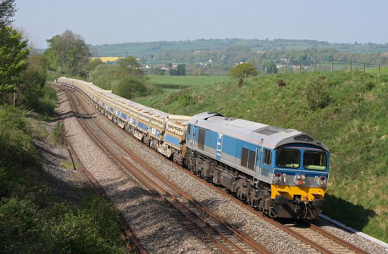 59002, 10.26 Exeter Riverside Yard-Cogload Junction, Whiteball, 23-4-11.
