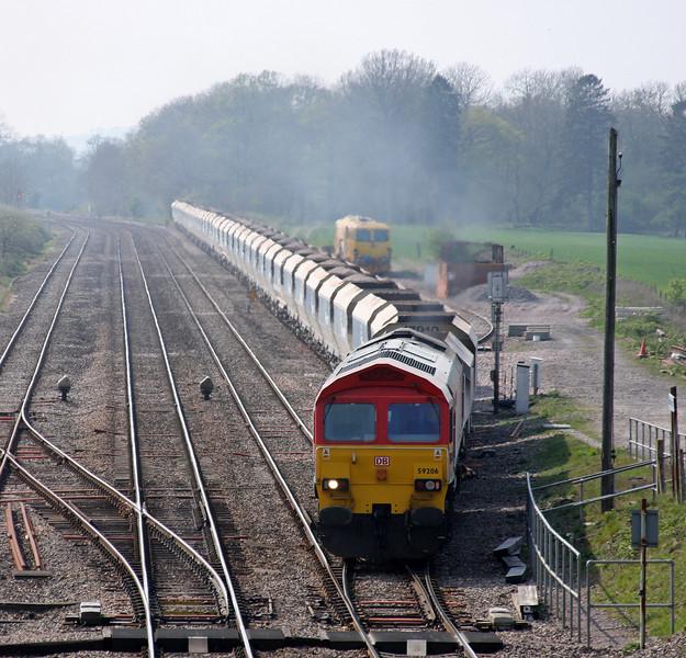 59206, 13.30 Whatley Quarry-Dagenham Dock, departing Woodborough loops, near Pewsey, Wiltshire, 19-4-11.