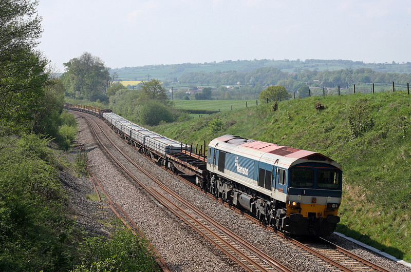 59102, 13.29 Exeter Riverside Yard-Cogload Junction, Whiteball, 23-4-11.