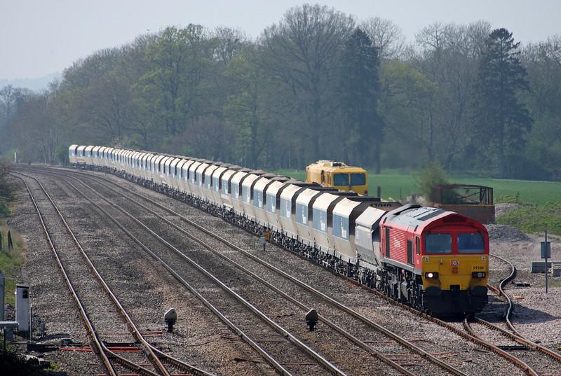 59206, 13.30 Whatley Quarry-Dagenham Dock, Woodborough loops, near Pewsey, Wiltshire, 19-4-11.
