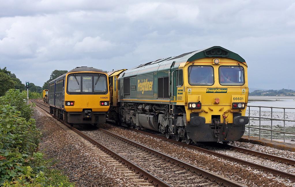 66601, 09.10 Eastleigh-Newton Abbot Hackney Yard, Powderham, near Starcross, 15-8-11, and 143620, 13.13 Paignton-Exmouth.
