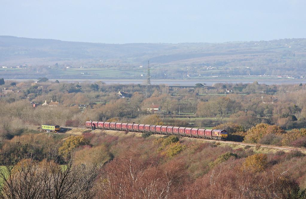 66084, 10.50 Aberthaw Power Station-Avonmouth Bulk Handling Terminal, climbing towards Cattybrook, Bristol, 7-12-11. 150, 13.21 Bristol Temple Meads-Cardiff Central.