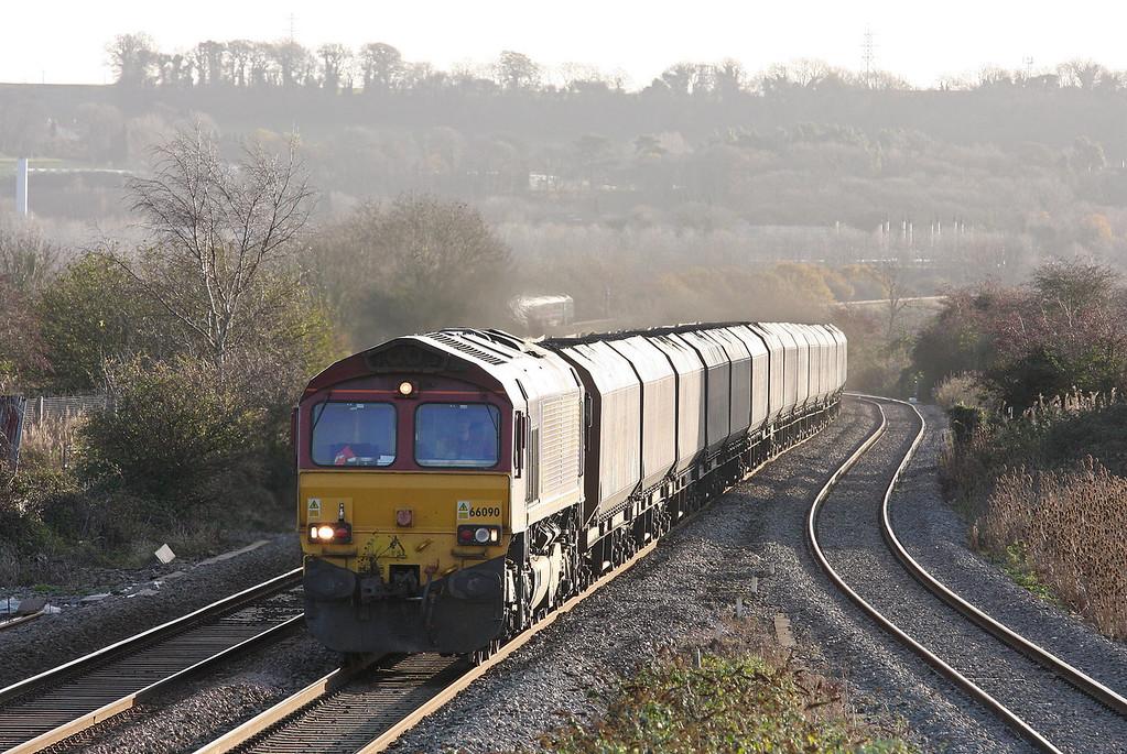 66090, 09.24 Avonmouth Bulk Handling Terminal-Aberthaw Power Station, Pilning, 7-12-11. HST, 08.28 Swansea-London Paddington.
