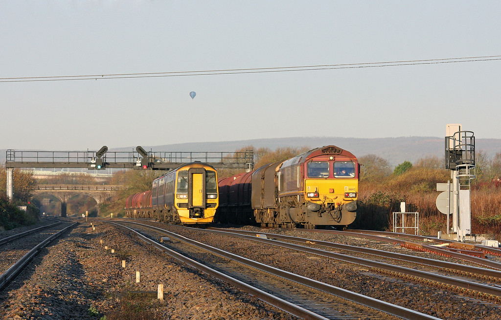66142, 08.18 Llanwern-Swindon Steel Terminal, Pilning loop, 2-12-11; 158950, 08.30 Cardiff Central-Portsmouth Harbour.