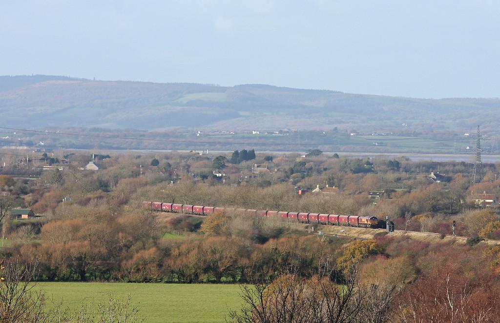 66084, 10.50 Aberthaw Power Station-Avonmouth Bulk Handling Terminal, climbing towards Cattybrook, Bristol, 7-12-11.