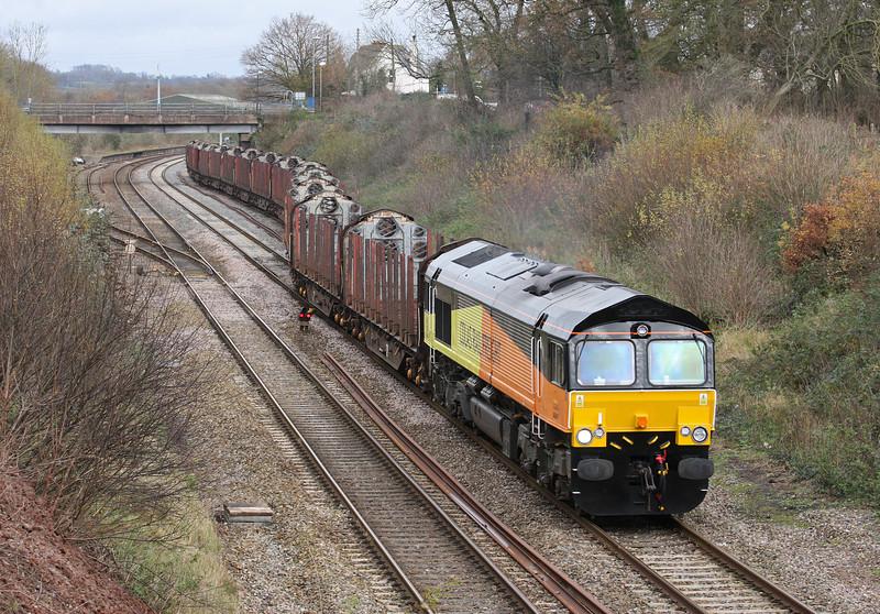 66847, 09.05 Gloucester New Yard-Teigngrace, near Newton Abbot, departs Tiverton loops, Willand, near Tiverton, 20-12-11.