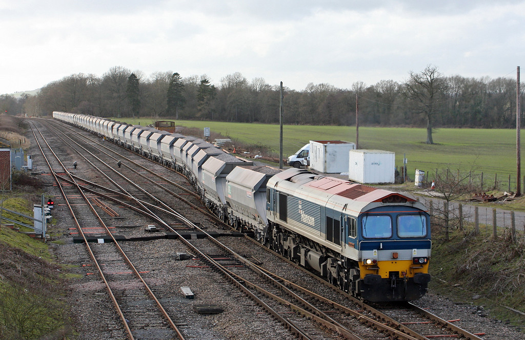 59102, 13.30 Whatley Quarry-Dagenham Dock, departs Woodborough loops, near Pewsey, Wiltshire, 3-2-11.