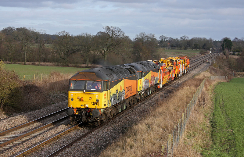 47749/47739, 11:05 West Ealing Plasser Sidings-Plymouth Tavistock Junction Plant Depot, Woodborough, Wiltshire, 3-2-11.