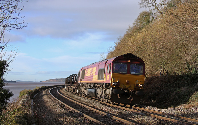 66047, 05.50 Margam-Corby, Hagloe crossing, near Blakeney, Gloucestershire, 14-2-11.